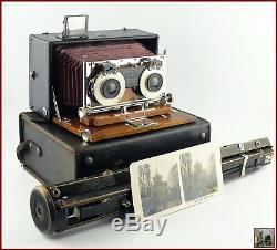 1908 Ernemann Heag IV Chambre Photographique Stéréo en Bois Plaque 9x18 Aplanat