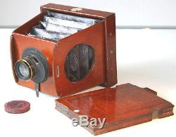 4 x 5 Early ECLIPSE MAHOGANY Folding CAMERA by J. F. SHEW & Co1890. + D. D. Slide