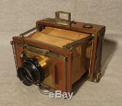 A German, Ernemann of Dresden, Antique Mahogany & Brass Tropical Plate Camera