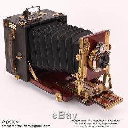 A Rare Gandolfi 3×4 Hand & Stand Camera, Brass & Mahogany Finish