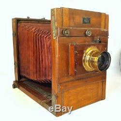 Ancien Grand Appareil Photo En Bois A Soufflet Chambre Photographique E. Mazo
