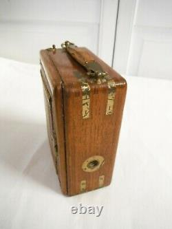 Ancien appareil photo a soufflet plaque Ihagee modèle tropen 9 x12 bois de teck