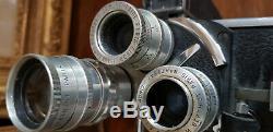 Ancienne Caméra PAILLARD BOLEX 16 MM type H 3 objectifs