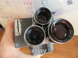 Ancienne caméra Pathé webo M Reflex 16 mm objectifs Angénieux Paris