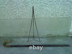 Ancienne canne système TRÉPIED appareil photo siege lutrin tripod cane