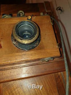 Appareil PHOTO ancien Bois Objectif H. Roussel Chambre Photographique à soufflet