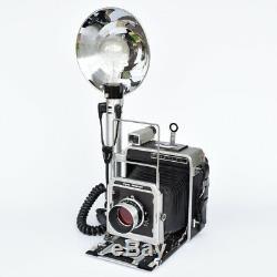 Appareil photo MILITAIRE 4 x 5 GRAFLEX Super GRAPHIC avec flash Graflex 3 cel