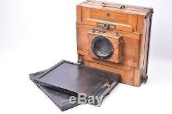 Appareil photographique 18 x 24 cm en noyer avec deux chassis. DMR Quadra Paris