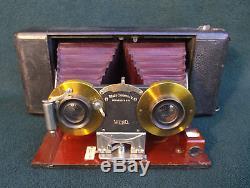 Blair, Eastman, American USA Antique Stereoscopic Stereo Mahogany & Brass Camera
