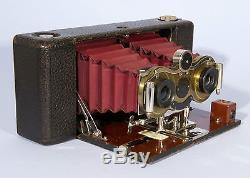 Blair Kodak Stereo Hawkeye Model 6 Folding Camera Red Bellows