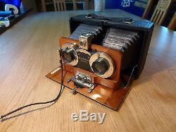 Busch Rathenow, schöne Stereokamera Edelholzkamera ca 1900 stereoscopic camera