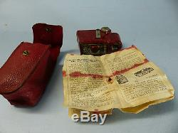 CORONET MIDGET 16mm MINIATURE CAMERA IN RED + CASE + INSTRUCTIONS VERY RARE