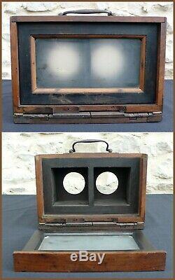 Chambre Photographique Stéréo Format 8x16,5cm Bois et Laiton Collodion Wet Plate