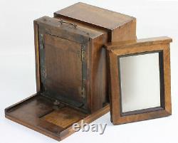 Chambre à tiroir en noyer France Format quart de plaque Objectif Petzval 1855