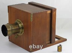Chambre à tiroir en noyer format demi plaque 17x17 cm Obj HERMAGIS France 1860