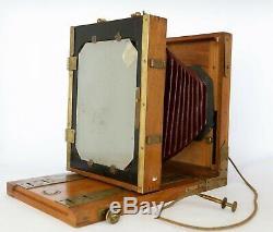 Chambre photographique 13x18 soufflet cuir wood camera objectif Phono Photo