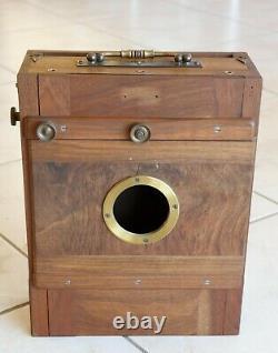 Chambre photographique 18x24 soufflet cuir + 4 châssis + drap tissus noir