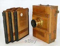 Chambre photographique acajou format 13x18 + 3 châssis double