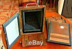 Chambre photographique ancienne en bois, 13x18, soufflet rouge, Objectif J. Fetter