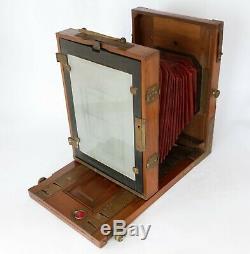 Chambre photographique bois 13x18 objectif Hermagis 16.8 310 mm 3 châssis