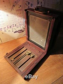 Chambre photographique collodion en bois, primitive, obtu Londe et Dessoudeix