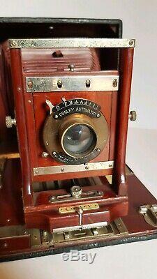 Conley Appareil Photo Ancien soufflet Camera 5x7 Long Focus Double Reversible US
