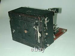 ERNEMANN HEAG VI 9x12 cm soufflet cuir avec sac et 3 chassis photo photographie