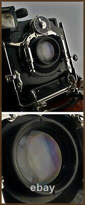 Ernemann Heag VI Zwei-Verschluss en Acajou, Plaque 8x10,5 cm, Goerz Celor 120mm