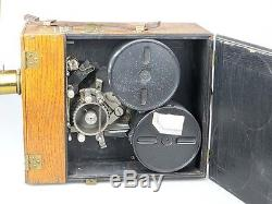 Ernemann historische 35mm-Filmkamera Rapid-Rectilinear Holzgehäuse Kurbel rw008