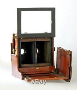 Extrêmement rare, Chambre Stéréo Hélios Mahogany & brass demi plaque