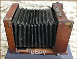 F. JONTE Imposante Chambre Photographique Carré Bois Laiton Collodion Wet Plate
