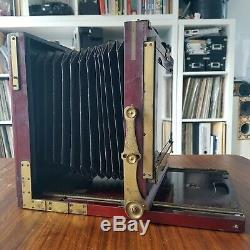 GAUMONT 13x18 5x7in mahogany camera + lens BOYER Saphir 4.5 210mm large format