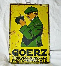 Goerz appareil Photo plaque émaillée ancienne(Sortie de grange)Rare à la vente