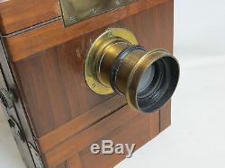 Holzkamera, Plattenkamera mit Rectilineaire Extra Rapide Aplanor 13x18 vw073