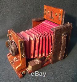 Houghton's Junior Sanderson English Antique Mahogany Brass Plate Camera & Tripod
