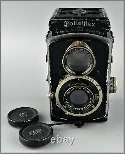 K1 Rolleiflex Rollei Baby 4x4 Noir Objectif Zeiss Tessar 6cm 3,5 Compur F Deckel