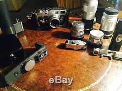 Leica M3 Vintage Camera Set With 5 Lens Flash And Leicameter Leitz Lenses Elmar