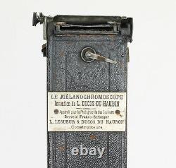 MELANOCHROMOSCOPE LESUEUR & DUCOS DU HAURON Plaque 5 x 13 cm Paris France 1899