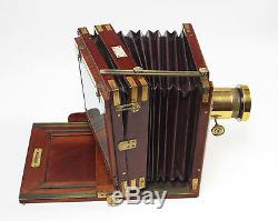 Magnificent Mahogany & Brass Henry Park Whole Plate Camera Soft Burgandy Bellows
