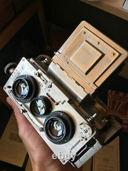 RARE! Superbe ONTOSCOPE CORNU Stereo camera REFLEX Dos Film 120 roll film back
