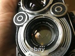 ROLLEIFLEX 3.5 F Twin Lens Reflex + Planar 75 mm f3.5 + sacoche cuir + boite do