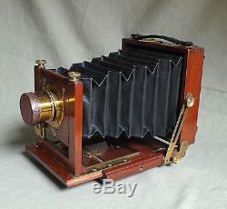 SALEX 1/4 plate mahogany brass camera c1900 TTH lens