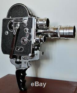 SUPERBE Caméra 16mm PAILLARD BOLEX + Valise, poignée & 3 Objectifs