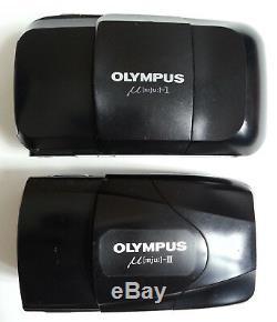SUPERBE LOT 2 anciens APPAREILS PHOTOS OLYMPUS µmju mju I + II f=35mm