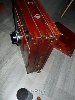 Seltene antike sehr große Holzkamera / Studiokamera mit Zeiss Tessar Objektiv