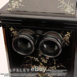 Very Fine Table Stereo Viewer Finished In Black & Painted Flowers Stereoscope