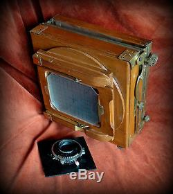 Wooden and brass 5X4 field camera